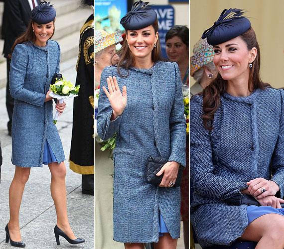 Június 13-án hasonló színekben pompázott: az elegáns M Missoni kabát alá is kék ruhát vett, és egy sötétebb árnyalatú kalappal fokozta az összhatást.