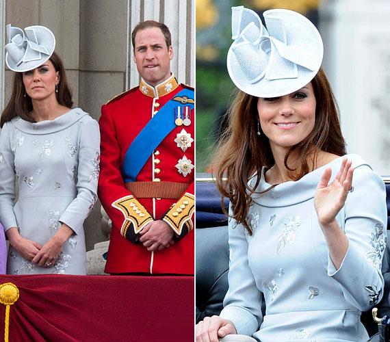 Szintén júniusban, egy ünnepségen viselte ezt a babkék alkalmi ruhát a hozzá illő, elegáns kalappal.