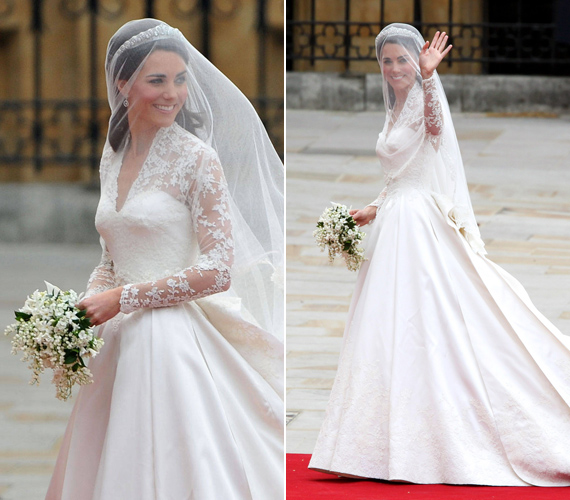 Katalin hercegnő menyasszonyi ruhája Alexander McQueen divatházának munkáját dicséri, azóta a dizájnt sokan lemásolták.