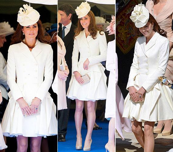 Az idei Garter ceremóniára egy krémszínű Alexander McQueen-kosztümöt vett fel, amihez egy Jane Corbett-kalapot választott, és mindezt a már védjegyének mondható, bézs LK Benett-cipővel tette teljessé.