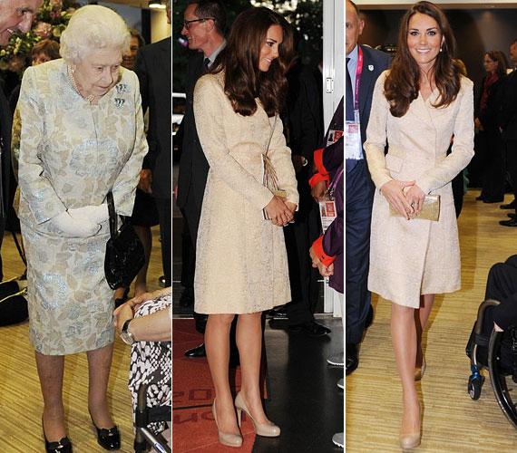 II. Erzsébet is jelen volt a ceremónián: a királynő egy halványkék mintás, pezsgőszínű Angela Kelly összeállítást viselt, míg a hercegné egy régi kedvencét választotta az alkalomra.