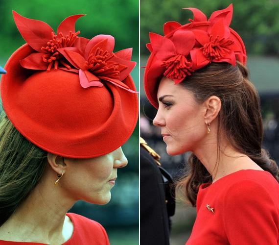 A gyönyörű, virágokkal díszített kalapot Sylvia Fletcher tervezte.