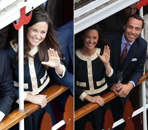 Kate húga, Pippa egy mellékhajóról integetett testvérével, Jamesszel. Ezúttal egy visszafogott kosztümöt viselt.