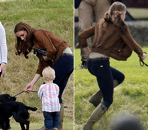 Amíg férje a lovaspólónak hódolt, ő is jól elszórakozott a kutyával.