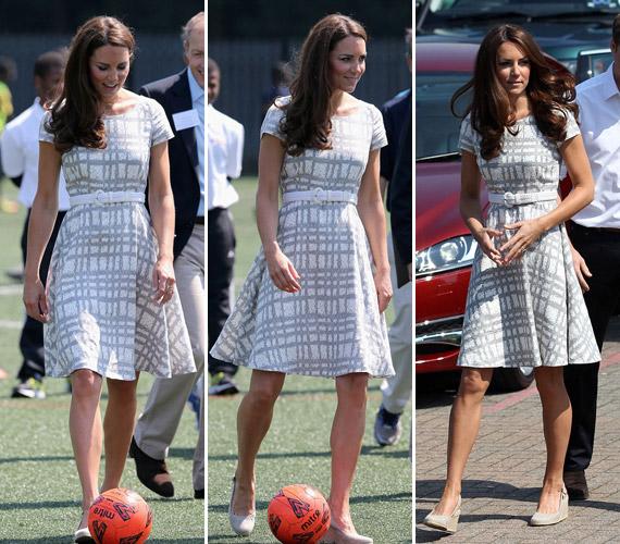 Kate Middleton egyszerű, szürke ruhájában is elragadó volt.
