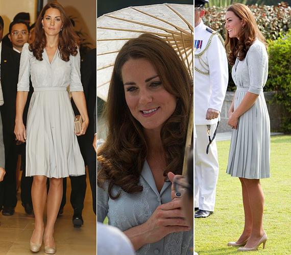 A csinos ruhához újra kedvenc, bézs LK Bennett cipőjét választotta.