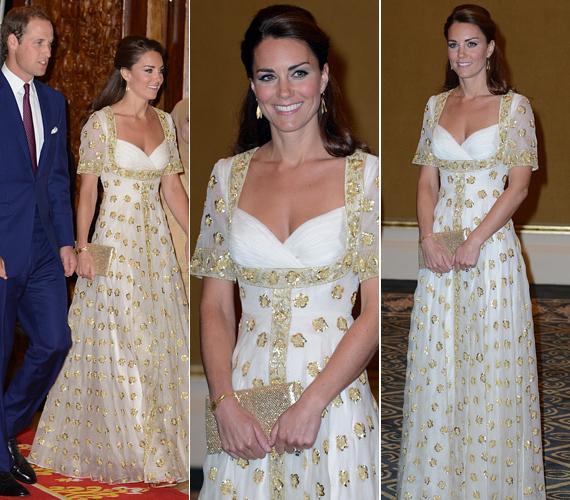 A 30 éves hercegné a malajziai uralkodóval elköltött vacsorán egy merész dekoltázsú, arannyal hímzett Alexander McQueen estélyiben jelent meg.