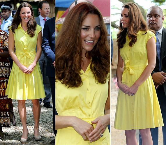 Az egyszerű szabású, felül gombos ruha remekül állt a karcsú Katalinnak.