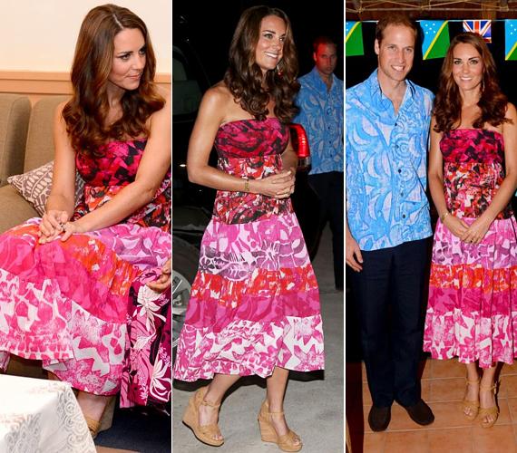 Ez a rózsaszín, trópusi hangulatú, hosszú ruha is remekül állt neki.