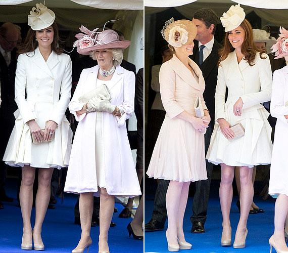 A windsori feleségek néven emlegetett hármas nagyon összeöltözött, mindnyájan halvány, krémszínű árnyalatokban pompáztak, de még cipőik is nagyon hasonlítottak.