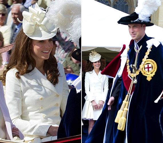 A Cambridge-i hercegnő büszkén nézte férjét, akinek remekül állt a tolldíszes kalap.