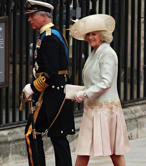 Károly herceg és Camilla  Károly herceg a tengerészet díszegyenruhájában érkezett, Camilla egy halványkék-rózsaszín átmenetes térdig érő ruhában érkezett, hozzá színben harmonizáló kalapot és táskát választott.