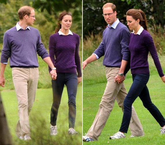 A fiatal házasok a Holyrood Parkban sétálgattak, mindketten laza, sportos, lila öltözetben - vagyis irigylésre méltó összhangban.
