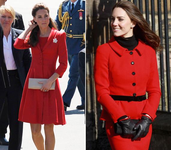 Kate egyik kedvenc színe a piros, már kanadai-amerikai hivatalos körútjukon is többször láthattuk hasonlóan élénk, vidám szettekben.