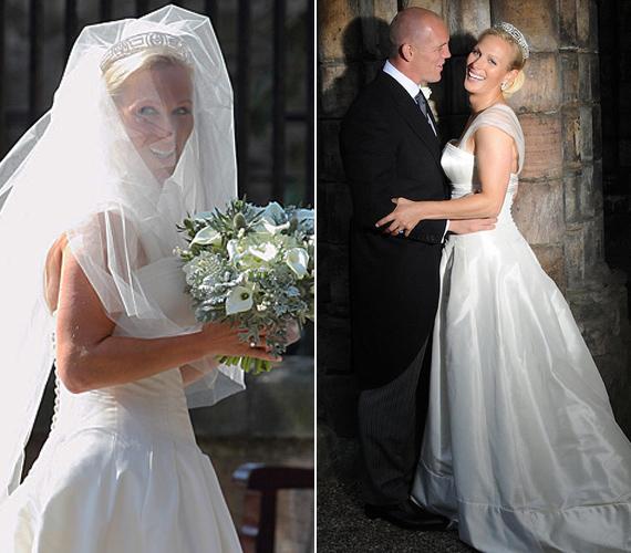 A ceremónián a gyönyörű szőke ara egy Stewart Palvin tervezte, elefántcsontszínű, szatén menyasszonyi ruhát viselt.