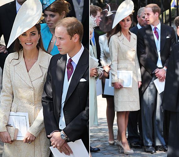 Katalin hercegnő egy visszafogottan elegáns, krémszínű kosztümöt vett fel az alkalomra, melyet egy hozzá illő, virággal díszített kalappal tett fiatalossá.