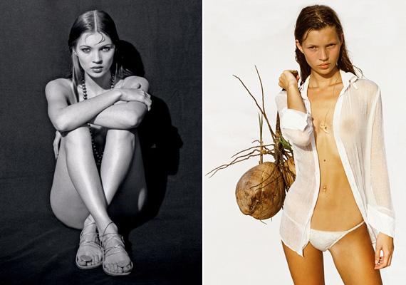 Kate Moss, aki nem a szégyenlősségéről híres, a jobb oldali képen 1991-ben nyarán, mindössze 17 évesen állt a lenge öltözetben a kamerák elé. Később már semmi sem volt rajta.