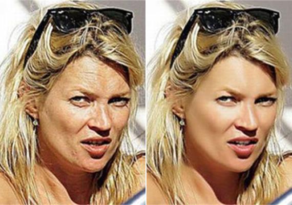 Az eredeti fotón látszódik, hogy mennyire öreg a bőre valójában a szupermodell Kate Mossnak. A feljavított képen persze már igazi bababőrrel hódít.