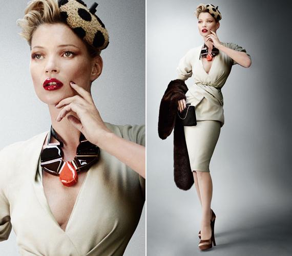 A gyönyörű divatfotók a negyvenes évek kifinomult stílusában készültek,Kate Miu Miu és Louis Vuitton ruhákat visel.