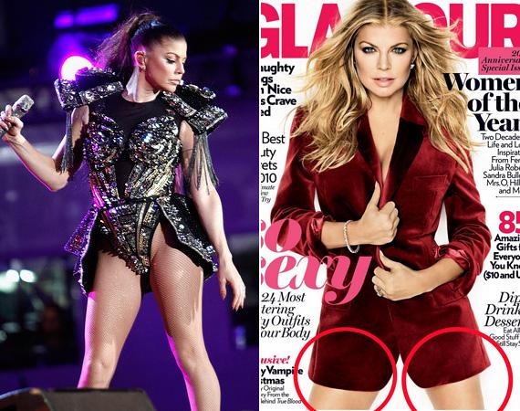 Fergie-t a Glamour magazin 2010 decemberi számához fotózták, ám sajnálatos módon az énekesnő izmos lábait nem találták elég szexisnek, így bottá faragták őket, ráadásul még méretben sem egyformák.