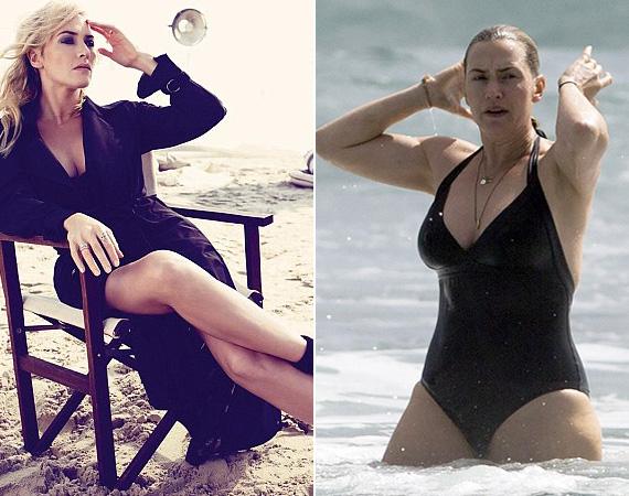Kate Winsletet január közepén kapták le Új-Zélandon fürdőzés közben, amikor is fürdőruhás lesifotók kerültek ki róla az internetre. A magazinfotó sem készülhetett sokkal korábban, ám ezen az Oscar-díjas színésznő láthatóan sokkal karcsúbb, a feje is vékonyabb lett, és az egész kompozícióról üvölt a túlzásba vitt Photoshop.