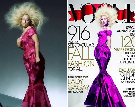 Lady Gaga sem az a karikatúraszerűen karcsú éteri lény, mint ahogy a Vogue 2012 szeptemberi számának elején látható. A fotó készültét bemutató videóból kifotózott képen jól látszik, hogy az énekesnő alakja teljesen rendben van, szerencsére a dereka is nőies, nem pedig ijesztően vékony.