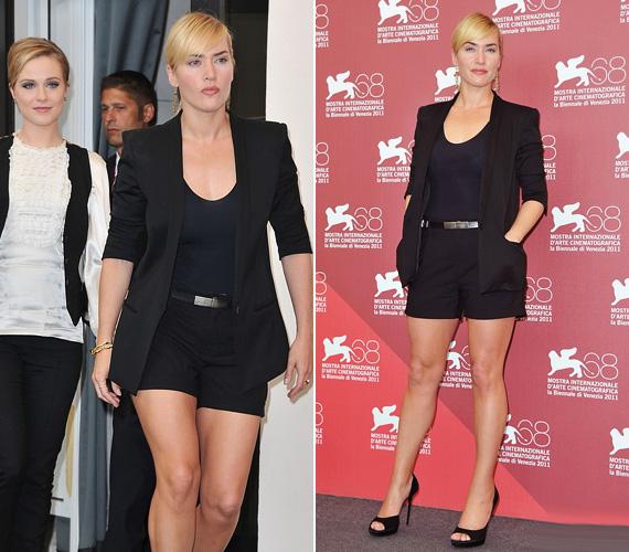 Kate Winslet egy falatnyi, szexis sortbana érkezett a Mildred Pierce premierjére szeptemberben a Velencei Filmfesztiválon.