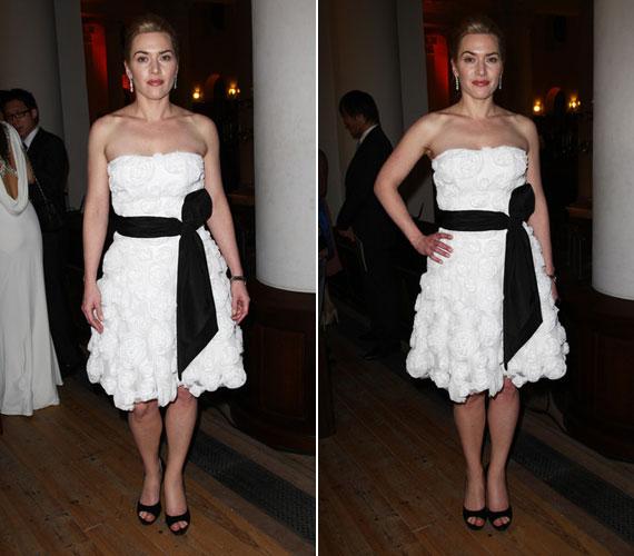 Egy Londonban megrendezett jótékonysági vacsorán ebben a csipkés fehér ruhában ragyogott.