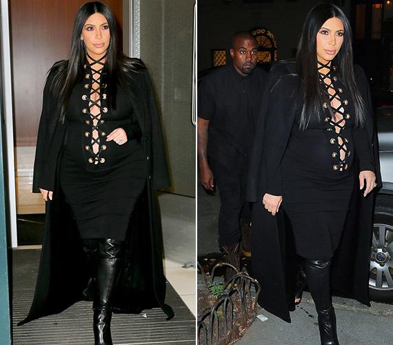 A 34 éves, második gyermekével várandós Kim Kardashian hétfő este egy tapadós és elképesztően mélyen kivágott ruhában lépett az utcára. A kerek idomairól híres sztár a babapocakját is szívesen hangsúlyozza.
