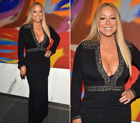 A 46 éves Mariah Carey hétfőn este szuszakolta megát ebbe a rendkívül mélyen kivágott, feszülős, fekete ruhába, amely megmutatta, az énekesnő nagyon jó formában van.