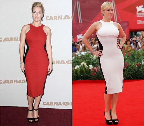 Kate Winslet fekete-fehér és fekete-vörös összeállításban. Vajon miért ragaszkodik ennyire ehhez a fazonhoz?