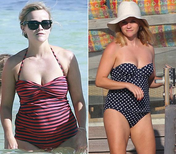 Reese Witherspoon is tavaly, november 27-én adott életet kisfiának. Márciusban jelentek meg róla a csíkos fürdőruhás fotók, melyek hatására úgy döntött, ideje dolgozni szülés utáni alakján. Múlt hétvégén a kaliforniai tengerparton ejtőzve a pöttyös fürdőruhában már néhány kilóval karcsúbbnak tűnik.