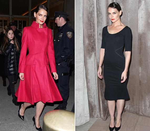 Február 16-án, hétfő este zajlott Zac Pozen divatshow-ja, melyen Katie Holmes megidézte a negyvenes évek öltözködését. Egy igazán feltűnő piros kabátban jelent meg a bemutatón, nem csoda, ha mindenki őt nézte. A kabát alatt pedig egy testhez simuló fekete, peplum aljú ruhát viselt, melyet remekül kiegészített a vörös rúzs és a hangsúlyos smink.