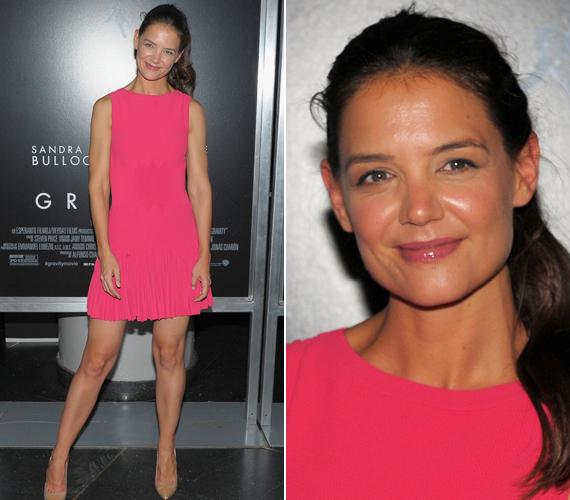 A Gravitáció premierjén egy figyelemfelkeltő, pink ruhában jelent meg.
