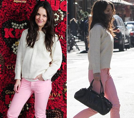 A 34 éves színésznőn a rózsaszín nadrág kifejezetten jól mutatott, ám az egy számmal kisebb, agyonmosott pulóver nem igazán illett egy ünnepelt sztárhoz. Főleg, hogy felkérték: legyen a csokibolt arca.