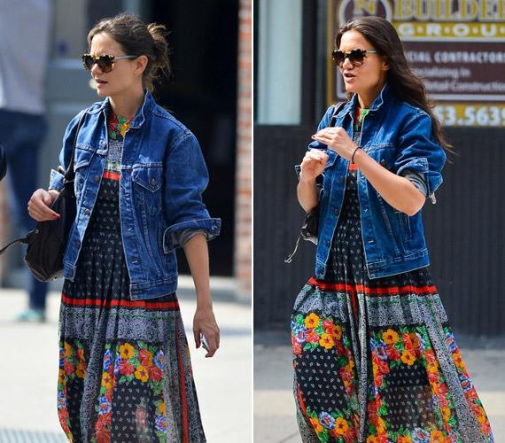 A színes, földig érő ruha előnyösen eltakarja Katie Holmes kicsit vastagabb vádliját, a farmerfelső pedig igazán divatossá teszi a viseletet.