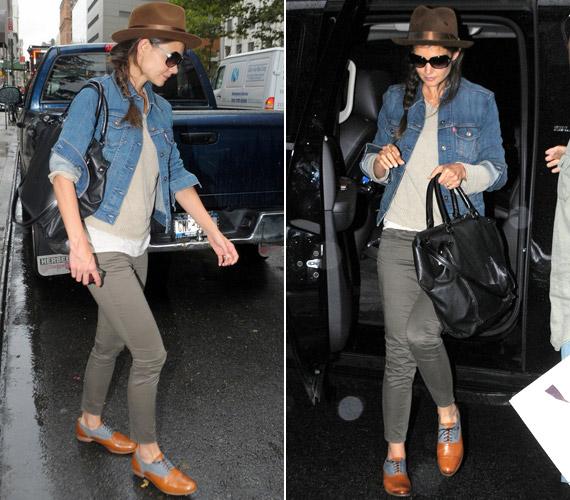 Katie ruhatárában a hasonló szabású, szürke nacik előkelő helyet foglalnak el - melyekhez előszeretettel választ ormótlan cipőket.