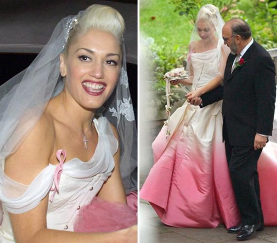 Gwen Stefani esküvői ruháját szoknyája alja tette igazán különlegessé. A púderrózsaszín alsó rész jól mutatott a fehér ruhakölteményen, a sztár meseszerűen nézett ki.