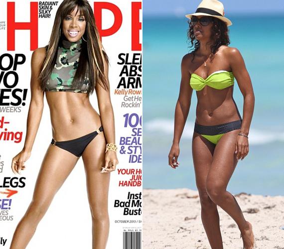 Kelly Rowland a Shape magazin októberi címlapján pózol kicsit vékonyabb kiadásban.