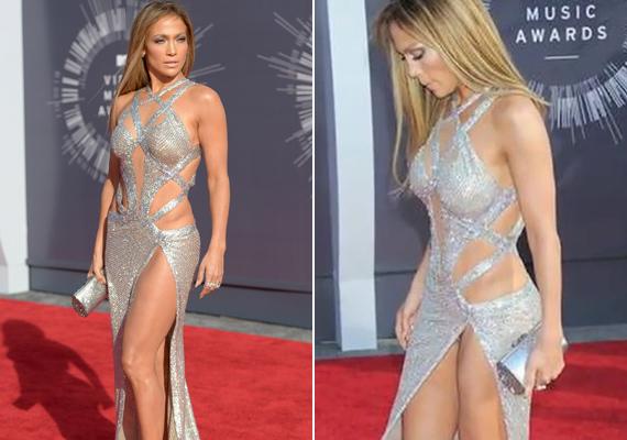 Jennifer Lopez ruhája alá a 2014-es Video Musica Awards díjátadó gálán nyerhettünk bepillantást, hála az eltúlzott felsliccelésnek.