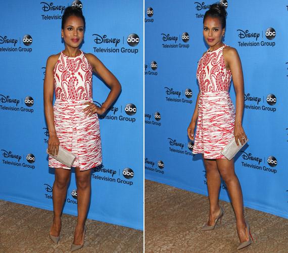A ruha különlegessége a játékos mintákban rejlik, melyek jól kifejezik a színésznő színes egyéniségét.