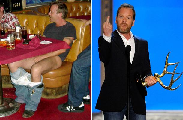 Kiefer Sutherland gyakran szerepelt a sajtóban botrányai kapcsán. Volt, hogy egy bárban letolta a nadrágját, máskor pedig még egy díjátadón sem fogta vissza magát.