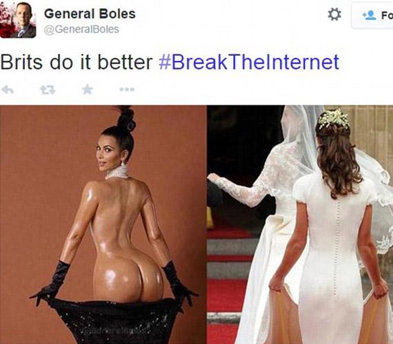 """""""Az angolok ezt jobban csinálják"""" - áll a felirat a kép fölött. A fehér ruhás fotón Pippa Middleton látható, Katalin hercegnő húga."""