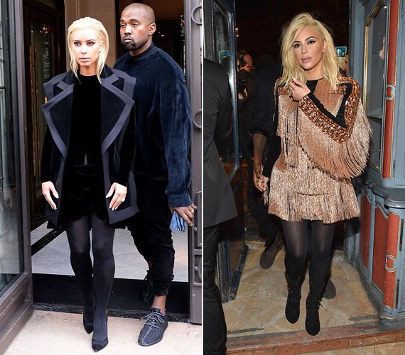 Csütörtök reggel debütált Kim Kardashian a platinaszőke hajával, akkor egy fekete ruhát viselt, ami kellőképpen felhívta a figyelmet a frizuraváltására. Este pedig a cowboylányos Balmain ruhában ment a stylist díszvacsorájára.