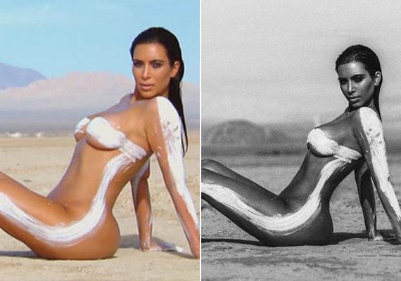 Az eredeti és a retusált fotón jól látszik a különbség: Kim Kardashian feleakkorának tűnik a manipulált képen.