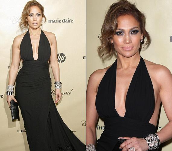 Jennifer Lopez P. Diddy buliján jelent meg ebben a merészen dekoltált darabban.