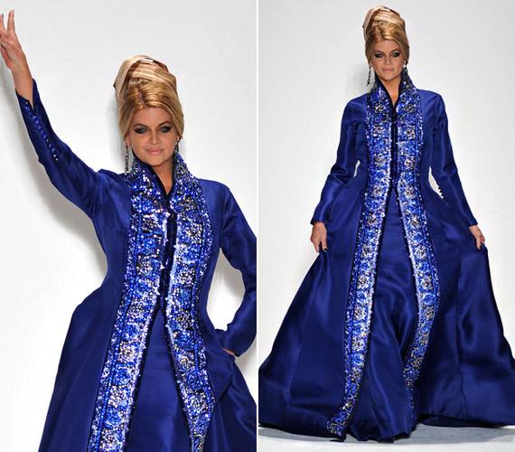 Ez a csodaszép földig érő estélyi ruha Zang Toi 2012-es tavaszi kollekciójának ékes darabja, a királykék kétségtelenül Kirstie színe.