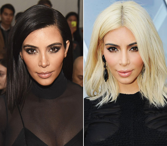 """Kim Kardashian többször kísérletezett már a hajszínével, volt barna és sötétszőke is, de a platinaszőke árnyalatot a párizsi divathét tiszteletére választotta. Azóta állandóan azzal van elfoglalva, hogy a sötét hajtöveit kiszőkíttesse. """"Szőkének lenni egész napos meló"""", panaszkodott az Instagramján."""