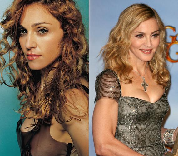 Az első fotó 1998-ban, a másik pedig 2012-ben készült Madonnáról. A különbség alig látható.