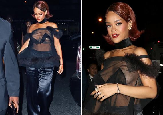 Rihanna a 2015-ös Met-gálára érkezett ebben a teljesen átlátszó felsőben, ami alá még melltartót sem húzott, így aztán nem csoda, hogy nem úszta meg a villantást.